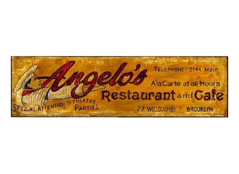 Custom Angelos Restaurant and Cafe Vintage Style Metal Sign