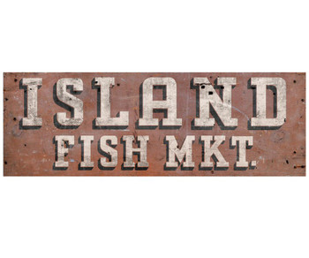 Custom Island Fish Market Vintage Style Metal Sign