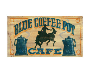 Custom Blue Coffee Pot Cafe Vintage Style Metal Sign