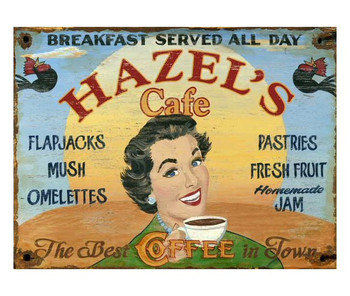 Custom Hazel's Cafe Vintage Style Metal Sign