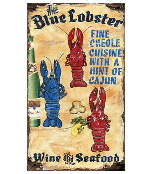 Custom Blue Lobster Wine and Seafood Vintage Style Metal Sign