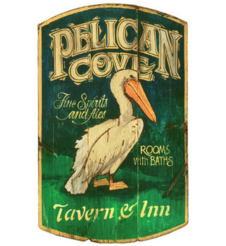 Custom Pelican Cove Tavern and Inn Vintage Style Metal Sign
