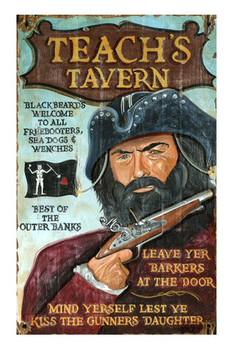 Custom Blackbeard Teach's Tavern Vintage Style Metal Sign