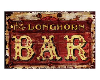 Custom Longhorn Bar Vintage Style Metal Sign