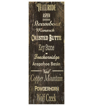 Custom Colorado Ski Resorts Vintage Style Metal Sign