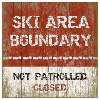 Custom Ski Area Boundary Vintage Style Metal Sign