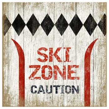 Custom Ski Zone Caution Vintage Style Metal Sign