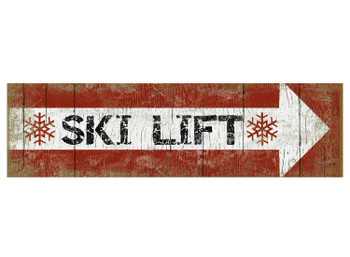 Custom Ski Lift Arrow Vintage Style Metal Sign