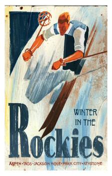 Custom Winter in the Rockies Skiing Vintage Style Metal Sign