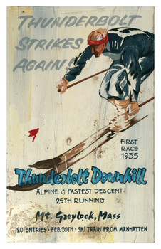 Custom Thunderbolt Downhill Skiing Vintage Style Metal Sign