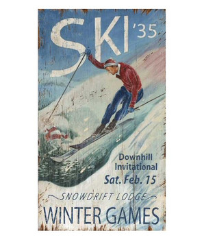 Custom Ski '35 Winter Games Vintage Style Metal Sign