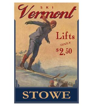 Custom Ski Vermont Skiing Vintage Style Metal Sign