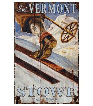 Custom Ski Stowe Vermont Skiing Vintage Style Metal Sign