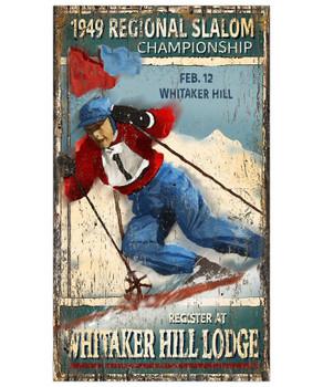 Custom Slalom Skiing Vintage Style Metal Sign