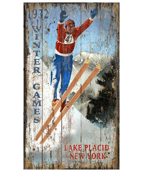 Custom Lake Placid Ski Jumper Vintage Style Metal Sign