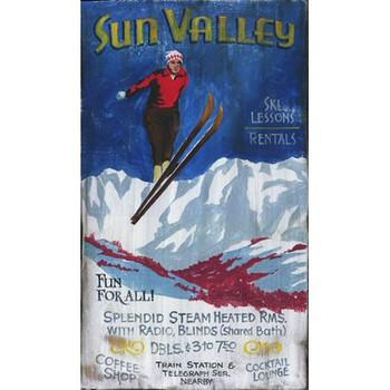 Custom Sun Valley Ski Lessons Vintage Style Metal Sign