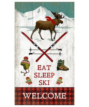 Custom Moose Eat Sleep Ski Welcome Vintage Style Metal Sign