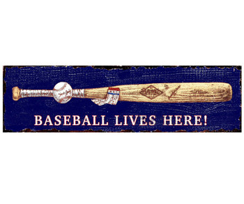 Custom Baseball Bat and Ball Vintage Style Metal Sign