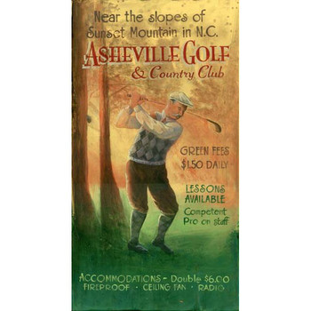 Custom Asheville Golf and Country Club Vintage Style Metal Sign
