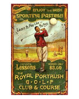 Custom Irish Golf Vintage Style Metal Sign
