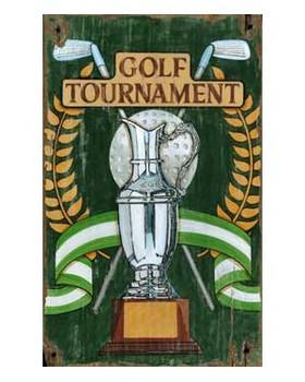 Custom Golf Tournament Trophy Vintage Style Metal Sign