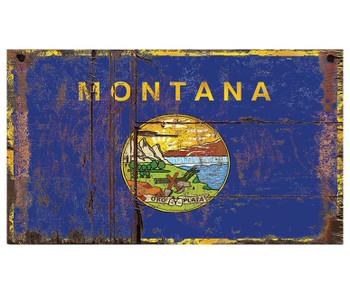 Custom Montana Flag Vintage Style Metal Sign
