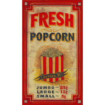 Custom Fresh Popcorn Vintage Style Metal Sign