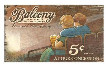 Custom Movie Balcony Brand Popcorn Vintage Style Metal Sign
