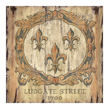 Custom Fleur De Lis 1700 Ludgate Street Vintage Style Metal Sign