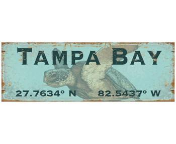 Custom Tampa Bay Sea Turtle Latitude Vintage Style Metal Sign