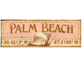 Custom Palm Beach with Seashell Latitude Vintage Style Metal Sign