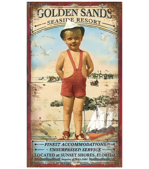 Custom Golden Sands Seaside Resort Vintage Style Metal Sign