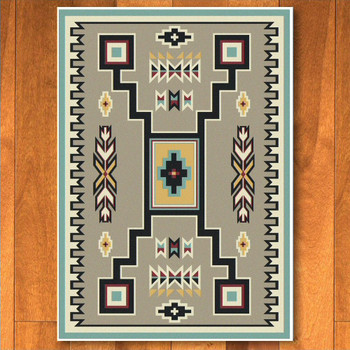 8' x 11' Old Crow Suede Turquoise Southwest Rectangle Rug