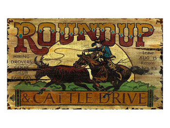 Custom Roundup and Cattle Drive Vintage Style Metal Sign