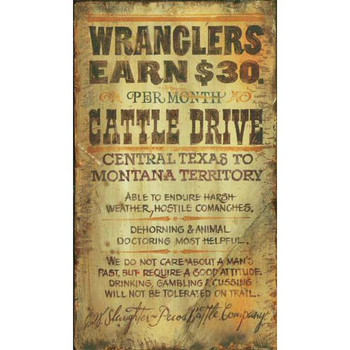 Custom Wranglers Cattle Drive Vintage Style Metal Sign