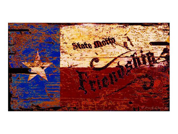 Custom Texas Flag Friendship Vintage Style Metal Sign