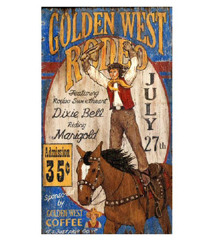 Custom Golden West Rodeo Vintage Style Metal Sign