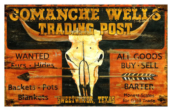 Custom Comanche Wells Trading Post Vintage Style Metal Sign