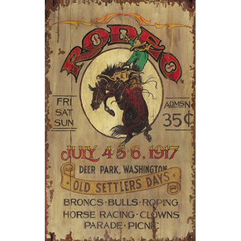 Custom Bronco Rodeo Old Settlers Day Vintage Style Metal Sign