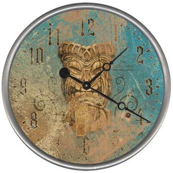 """15"""" Custom Tiki Vintage Style Wood Sign Wall Clock"""