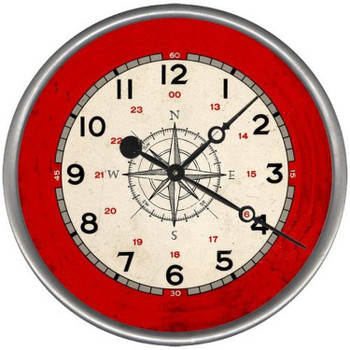"15"" Custom Compass Rose Vintage Style Wood Sign Wall Clock"