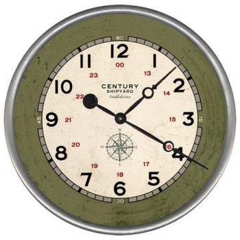 "15"" Custom Century Shipyard with Compass Vintage Style Wood Wall Clock"