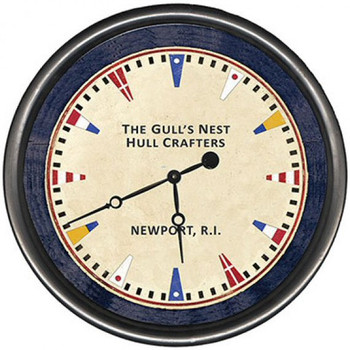 "15"" Custom Maritime Newport R.I. Vintage Style Wooden Sign Wall Clock"