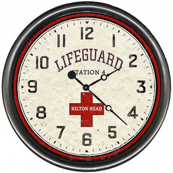 "15"" Custom Hilton Head Lifeguard Vintage Style Wooden Sign Wall Clock"