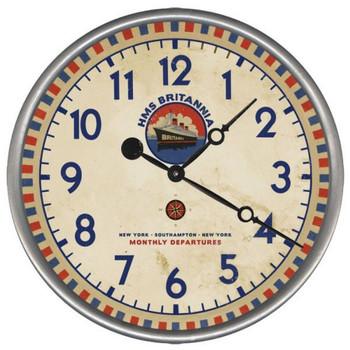 "15"" Custom HMS Britannia Ship Vintage Style Wood Sign Wall Clock"