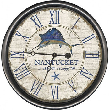 "15"" Custom Nantucket Swordfish Vintage Style Wooden Sign Wall Clock"