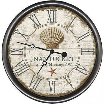 "15"" Custom Nantucket Seashell Vintage Style Wooden Sign Wall Clock"