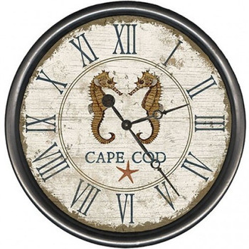 "15"" Custom Cape Cod Seahorses Vintage Style Wooden Sign Wall Clock"