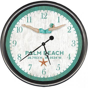 "15"" Custom Palm Beach Dive Girl Vintage Style Wooden Sign Wall Clock"
