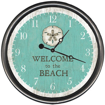 "15"" Sand Dollar Beach Welcome Vintage Style Wooden Sign Wall Clock"
